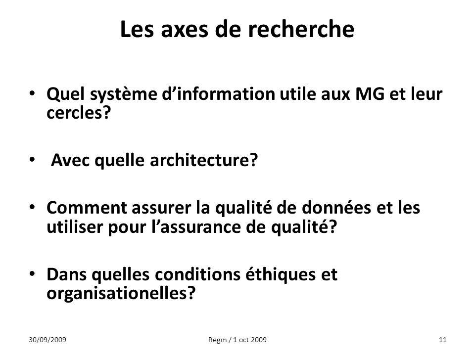 Les axes de recherche Quel système dinformation utile aux MG et leur cercles? Avec quelle architecture? Comment assurer la qualité de données et les u