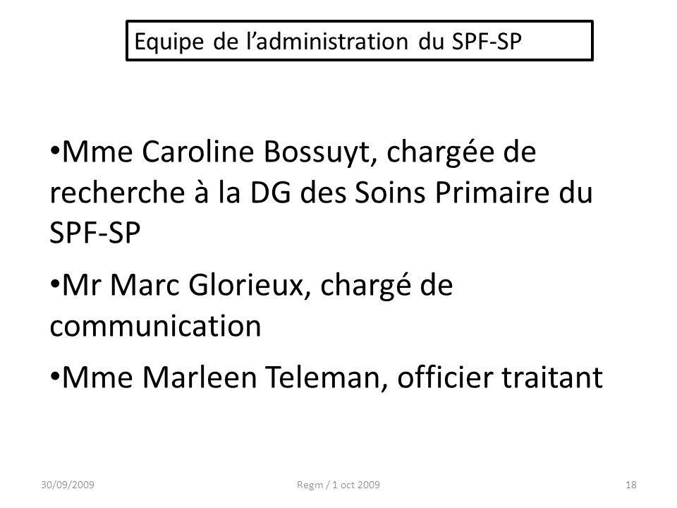 30/09/2009Regm / 1 oct 200918 Mme Caroline Bossuyt, chargée de recherche à la DG des Soins Primaire du SPF-SP Mr Marc Glorieux, chargé de communicatio