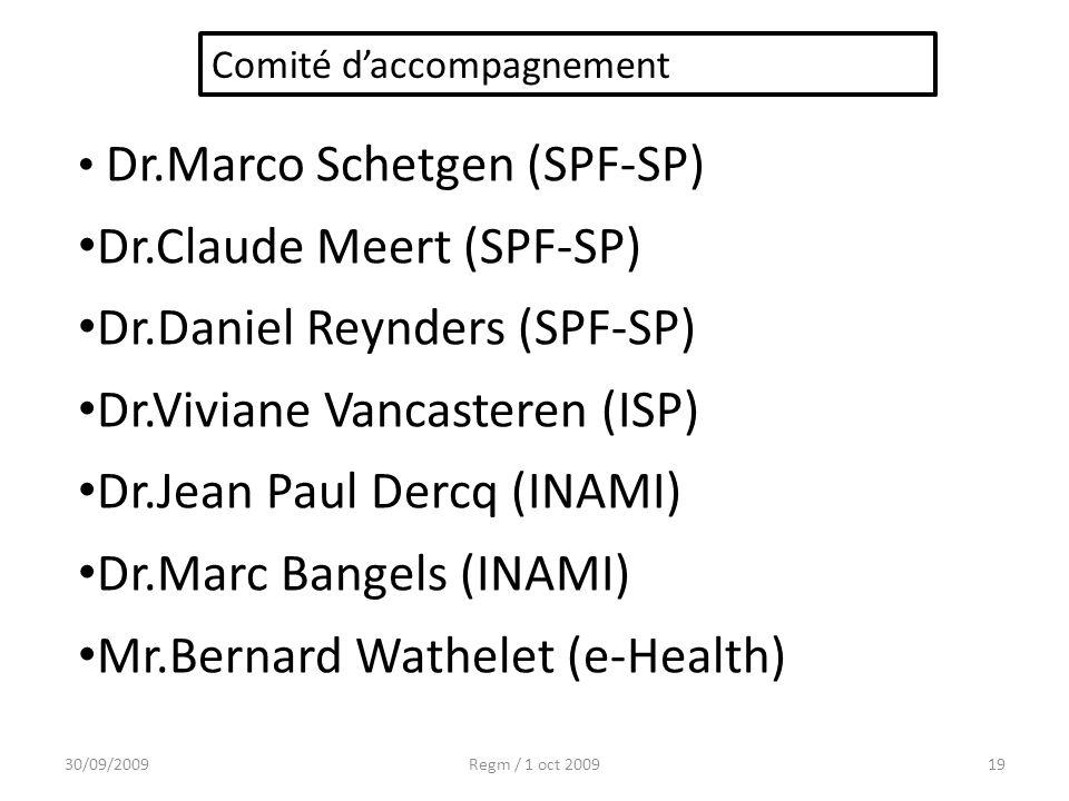 30/09/2009Regm / 1 oct 200919 Dr.Marco Schetgen (SPF-SP) Dr.Claude Meert (SPF-SP) Dr.Daniel Reynders (SPF-SP) Dr.Viviane Vancasteren (ISP) Dr.Jean Pau