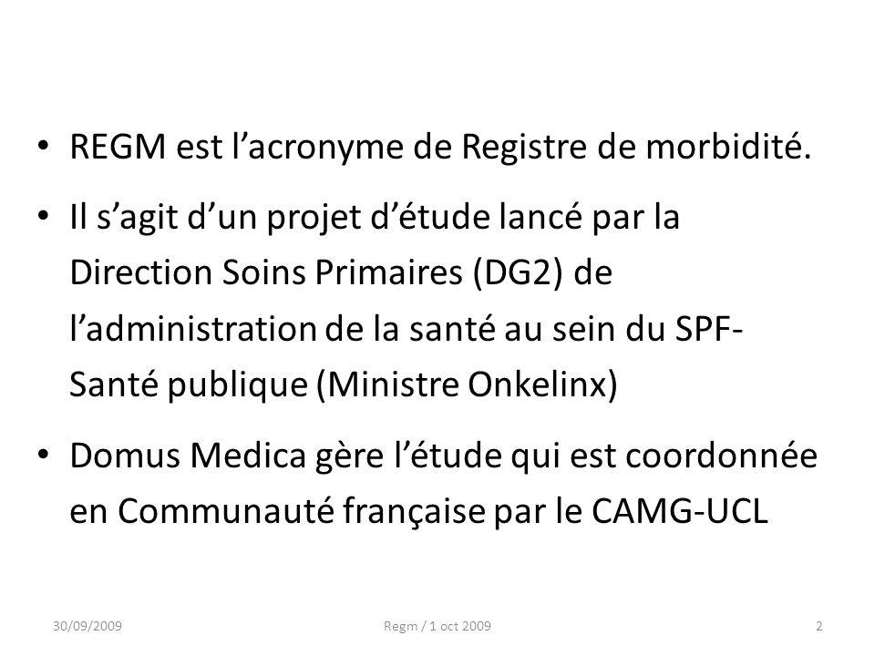 REGM est lacronyme de Registre de morbidité. Il sagit dun projet détude lancé par la Direction Soins Primaires (DG2) de ladministration de la santé au