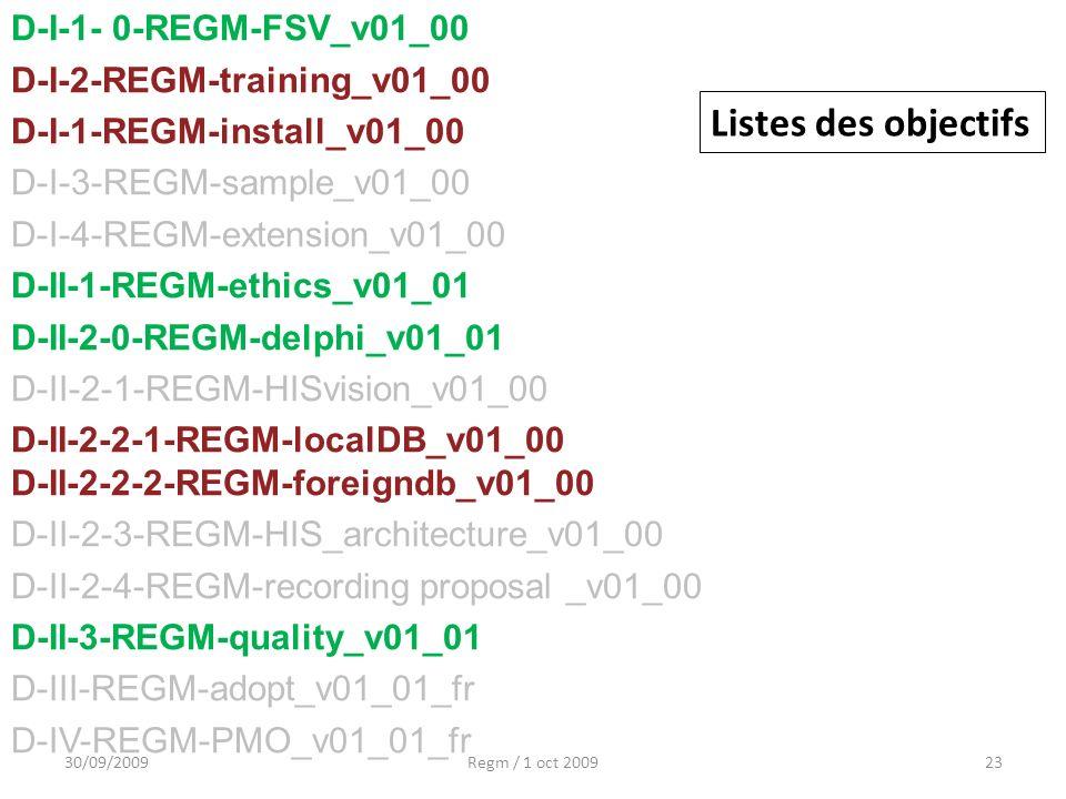 30/09/2009Regm / 1 oct 200923 D-I-1- 0-REGM-FSV_v01_00 D-I-2-REGM-training_v01_00 D-I-1-REGM-install_v01_00 D-I-3-REGM-sample_v01_00 D-I-4-REGM-extens