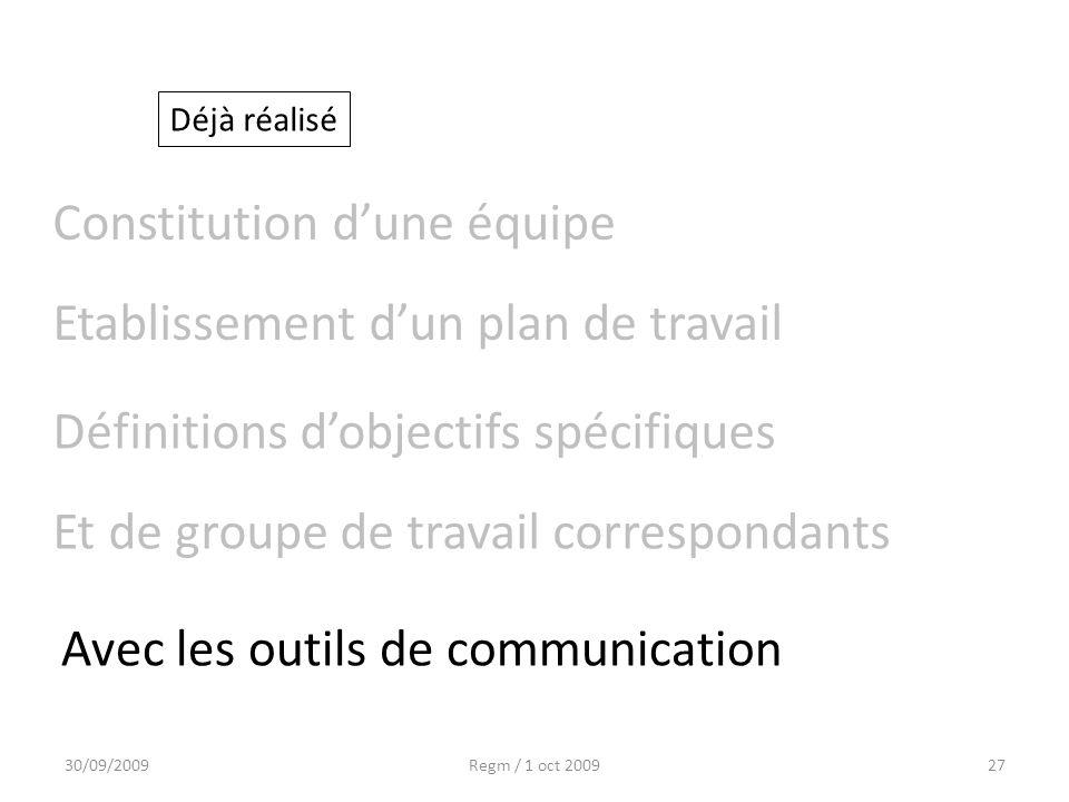 30/09/2009Regm / 1 oct 200927 Etablissement dun plan de travail Déjà réalisé Constitution dune équipe Définitions dobjectifs spécifiques Et de groupe