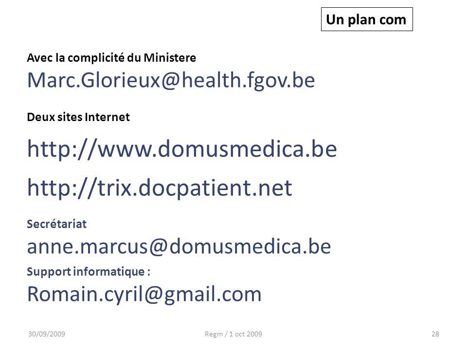 30/09/2009Regm / 1 oct 200928 Un plan com Avec la complicité du Ministere Marc.Glorieux@health.fgov.be Deux sites Internet http://www.domusmedica.be h