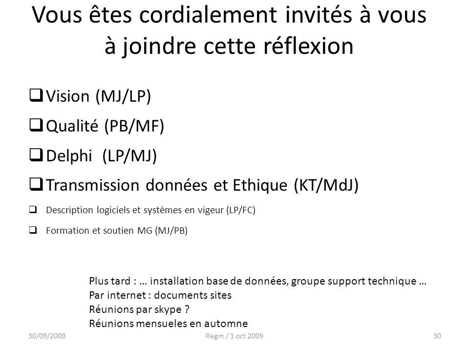 Vous êtes cordialement invités à vous à joindre cette réflexion Vision (MJ/LP) Qualité (PB/MF) Delphi (LP/MJ) Transmission données et Ethique (KT/MdJ)