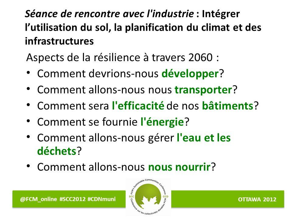 OTTAWA 2012 @FCM_online #SCC2012 #CDNmuni Aspects de la résilience à travers 2060 : Comment devrions-nous développer.