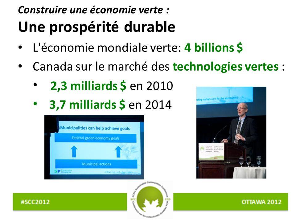 Construire une économie verte : Une prospérité durable L économie mondiale verte: 4 billions $ Canada sur le marché des technologies vertes : 2,3 milliards $ en 2010 3,7 milliards $ en 2014