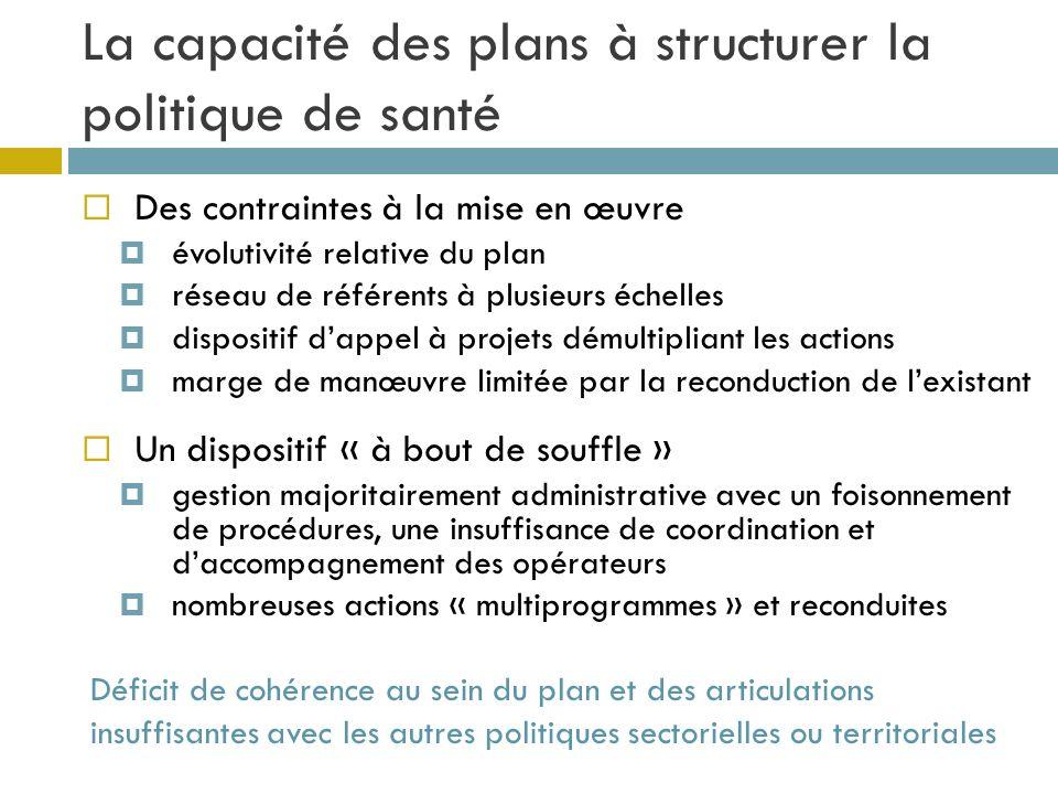 La capacité des plans à structurer la politique de santé Des contraintes à la mise en œuvre évolutivité relative du plan réseau de référents à plusieu