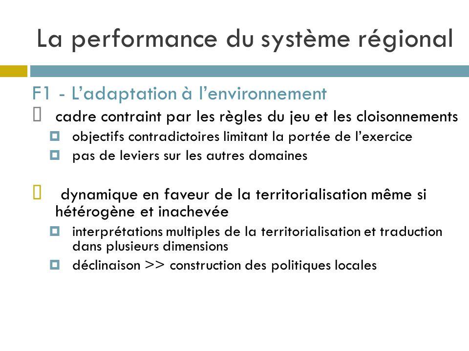La performance du système régional F1 - Ladaptation à lenvironnement cadre contraint par les règles du jeu et les cloisonnements objectifs contradicto