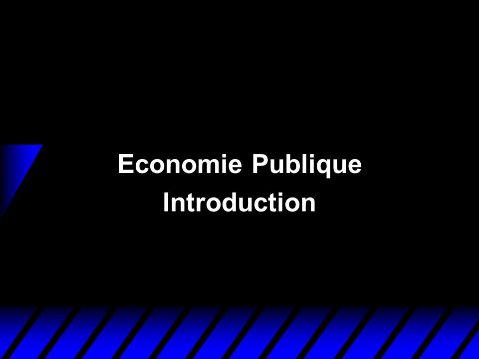 Economie Publique u Etudie les causes et les conséquences de lintervention publique dans la sphère économique.
