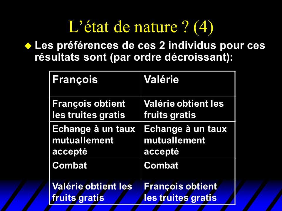 Létat de nature ? (4) u Les préférences de ces 2 individus pour ces résultats sont (par ordre décroissant): FrançoisValérie François obtient les truit