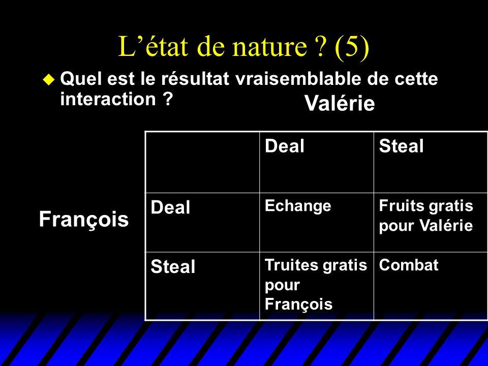 Létat de nature ? (5) u Quel est le résultat vraisemblable de cette interaction ? DealSteal Deal EchangeFruits gratis pour Valérie Steal Truites grati