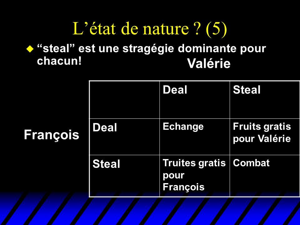Létat de nature ? (5) u steal est une stragégie dominante pour chacun! DealSteal Deal EchangeFruits gratis pour Valérie Steal Truites gratis pour Fran
