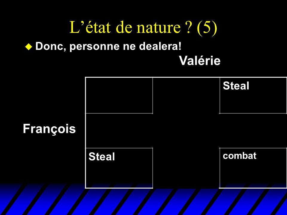 Létat de nature ? (5) u Donc, personne ne dealera! DealSteal Deal EchangeFruits gratis pour Valérie Steal Truites gratis pour François combat François