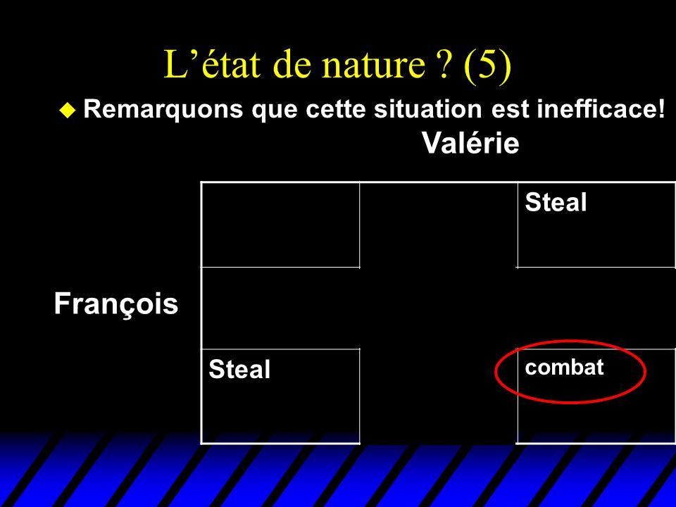 Létat de nature ? (5) u Remarquons que cette situation est inefficace! DealSteal Deal EchangeFruits gratis pour Valérie Steal Truites gratis pour Fran