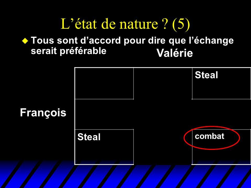 Létat de nature ? (5) u Tous sont daccord pour dire que léchange serait préférable DealSteal Deal EchangeFruits gratis pour Valérie Steal Truites grat