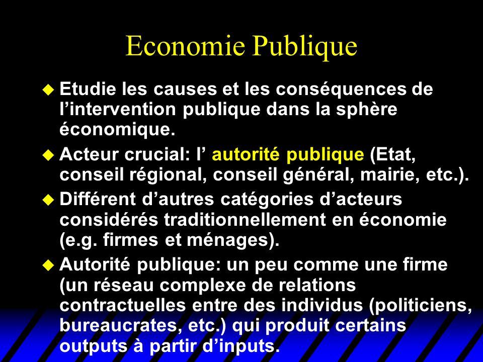 Economie Publique u Etudie les causes et les conséquences de lintervention publique dans la sphère économique. u Acteur crucial: l autorité publique (