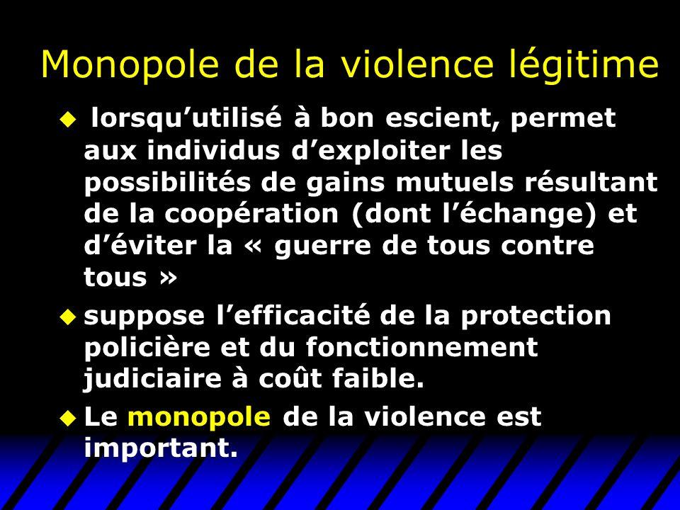 Monopole de la violence légitime lorsquutilisé à bon escient, permet aux individus dexploiter les possibilités de gains mutuels résultant de la coopér