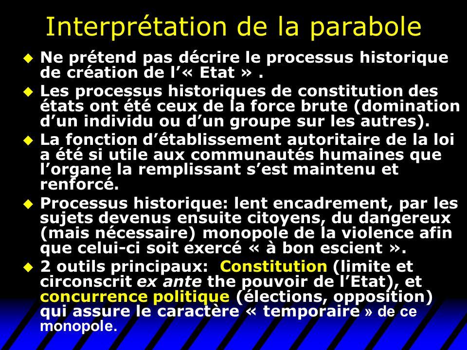 Interprétation de la parabole u Ne prétend pas décrire le processus historique de création de l« Etat ». u Les processus historiques de constitution d