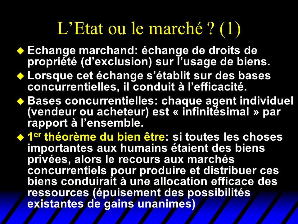 LEtat ou le marché ? (1) u Echange marchand: échange de droits de propriété (dexclusion) sur lusage de biens. u Lorsque cet échange sétablit sur des b
