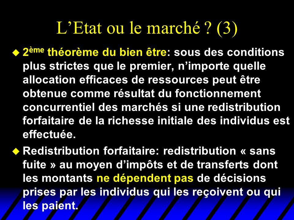 LEtat ou le marché ? (3) u 2 ème théorème du bien être: sous des conditions plus strictes que le premier, nimporte quelle allocation efficaces de ress