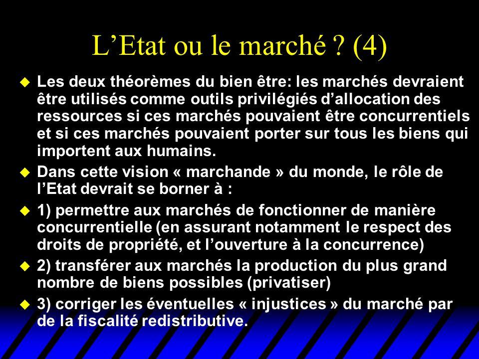 LEtat ou le marché ? (4) u Les deux théorèmes du bien être: les marchés devraient être utilisés comme outils privilégiés dallocation des ressources si