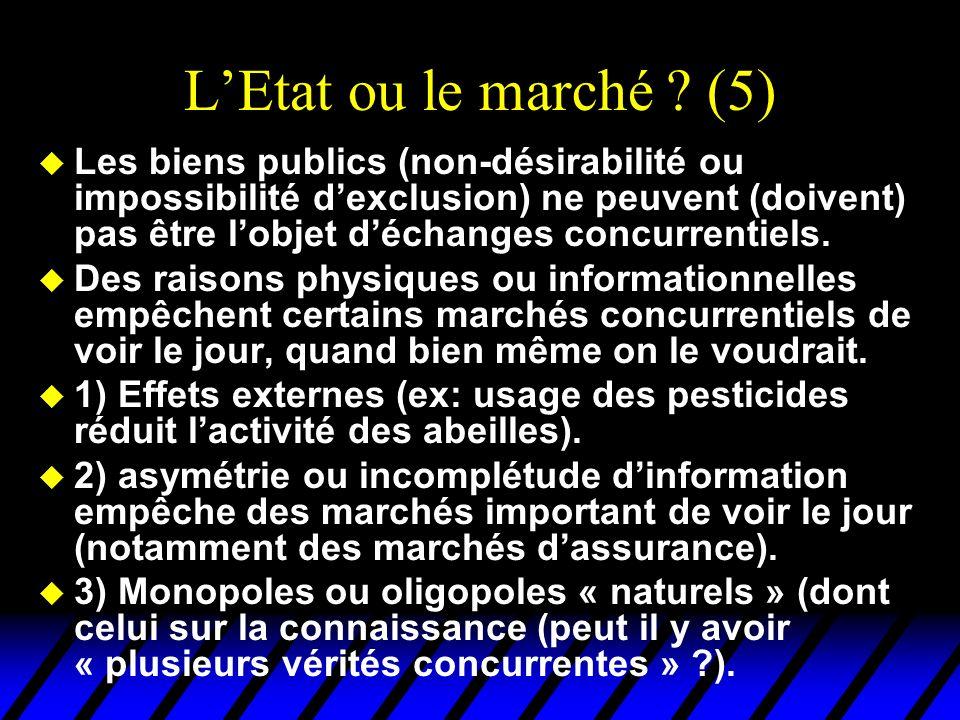 LEtat ou le marché ? (5) u Les biens publics (non-désirabilité ou impossibilité dexclusion) ne peuvent (doivent) pas être lobjet déchanges concurrenti