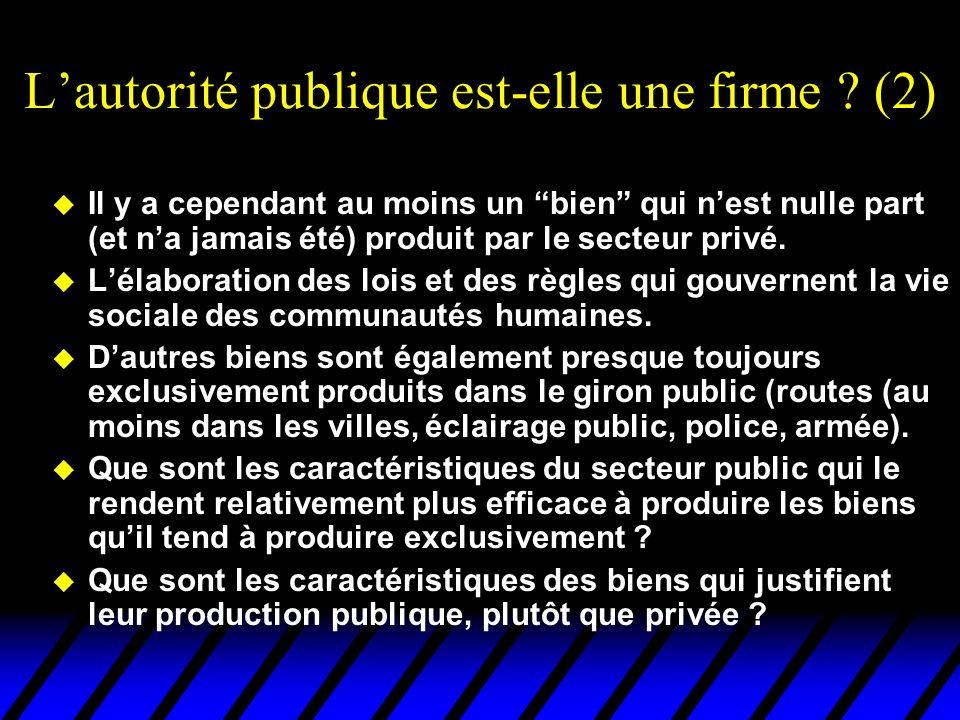 Lautorité publique est-elle une firme ? (2) u Il y a cependant au moins un bien qui nest nulle part (et na jamais été) produit par le secteur privé. u