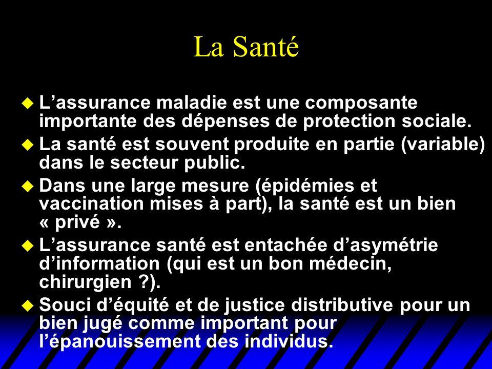 La Santé u Lassurance maladie est une composante importante des dépenses de protection sociale. u La santé est souvent produite en partie (variable) d