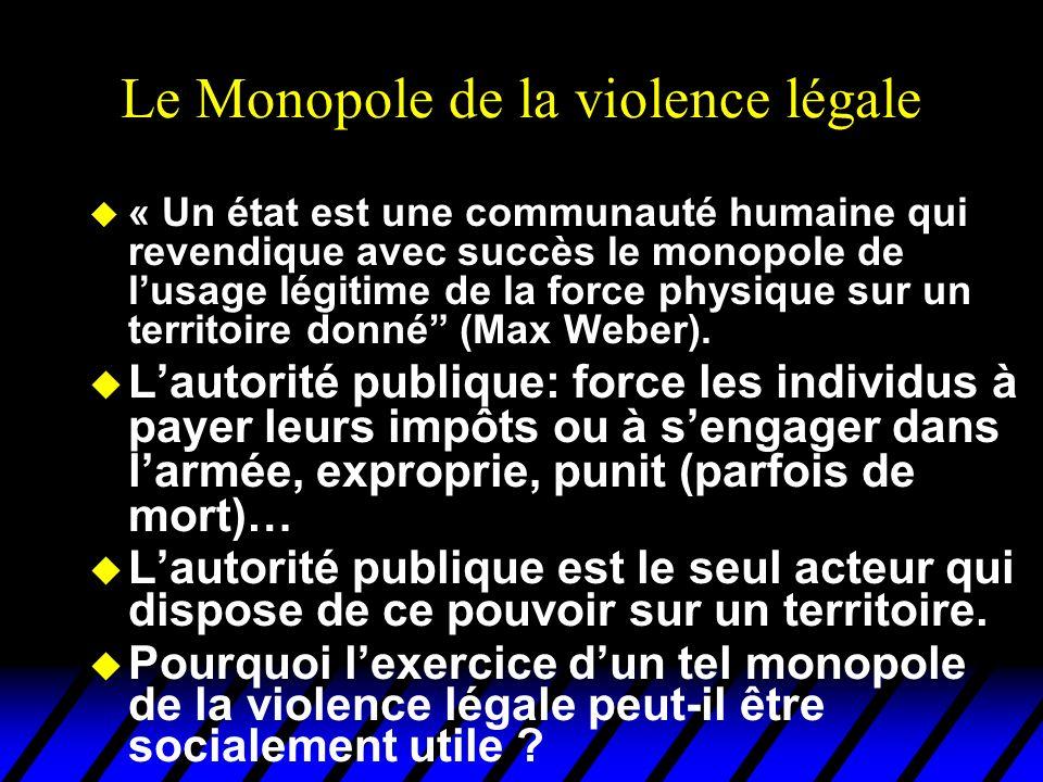 Le Monopole de la violence légale u « Un état est une communauté humaine qui revendique avec succès le monopole de lusage légitime de la force physiqu