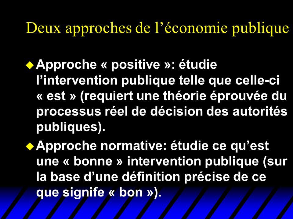 Deux approches de léconomie publique u Approche « positive »: étudie lintervention publique telle que celle-ci « est » (requiert une théorie éprouvée
