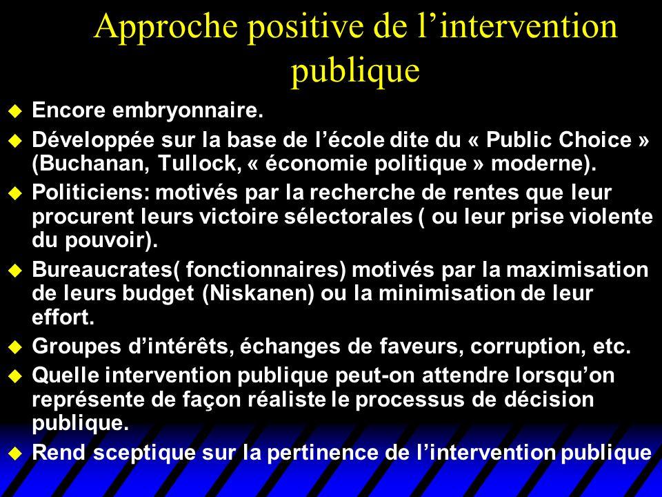 Approche positive de lintervention publique u Encore embryonnaire. u Développée sur la base de lécole dite du « Public Choice » (Buchanan, Tullock, «