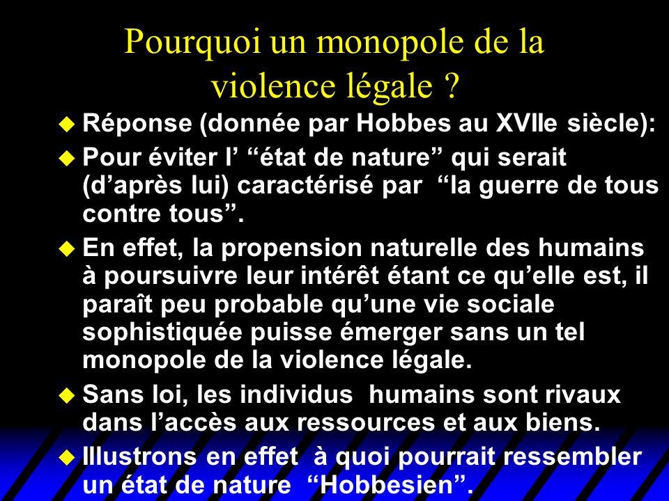 Pourquoi un monopole de la violence légale ? u Réponse (donnée par Hobbes au XVIIe siècle): u Pour éviter l état de nature qui serait (daprès lui) car