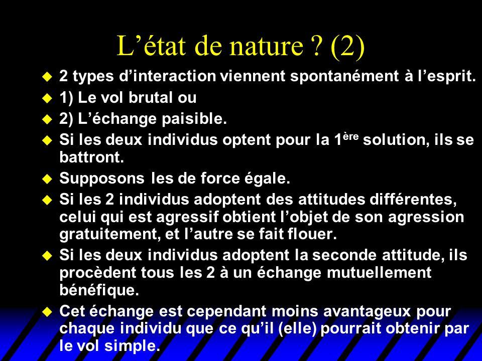 Létat de nature ? (2) u 2 types dinteraction viennent spontanément à lesprit. u 1) Le vol brutal ou u 2) Léchange paisible. u Si les deux individus op