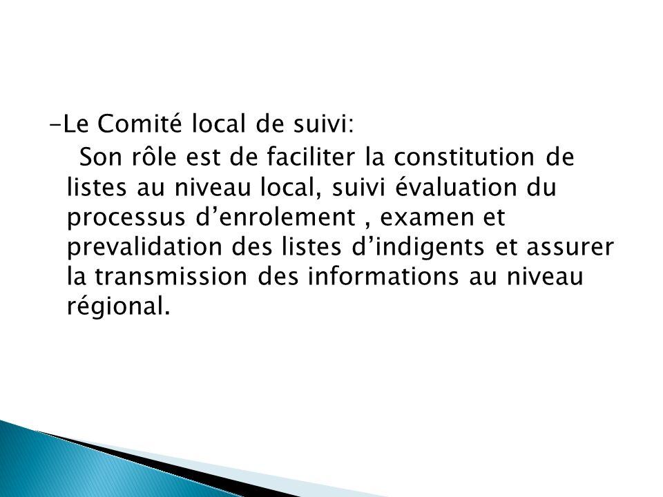-Le Comité local de suivi: Son rôle est de faciliter la constitution de listes au niveau local, suivi évaluation du processus denrolement, examen et prevalidation des listes dindigents et assurer la transmission des informations au niveau régional.