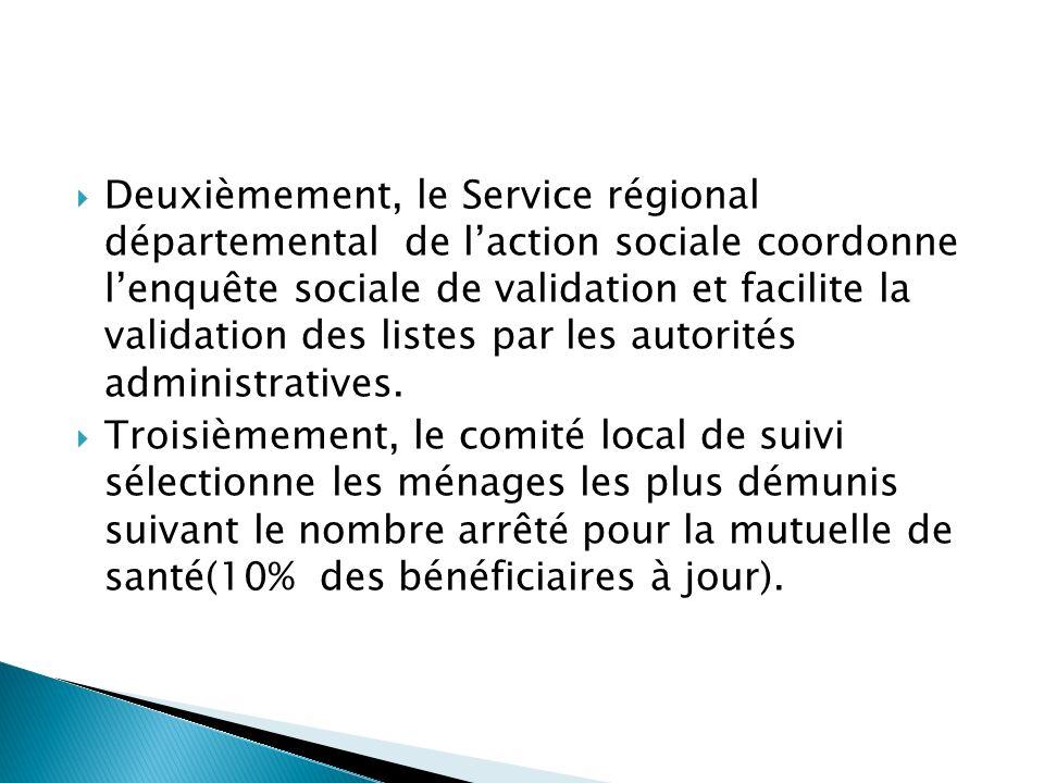 Deuxièmement, le Service régional départemental de laction sociale coordonne lenquête sociale de validation et facilite la validation des listes par les autorités administratives.