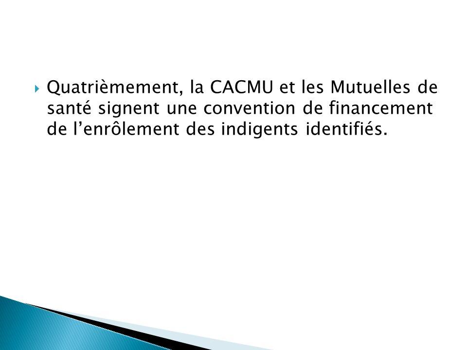 Quatrièmement, la CACMU et les Mutuelles de santé signent une convention de financement de lenrôlement des indigents identifiés.