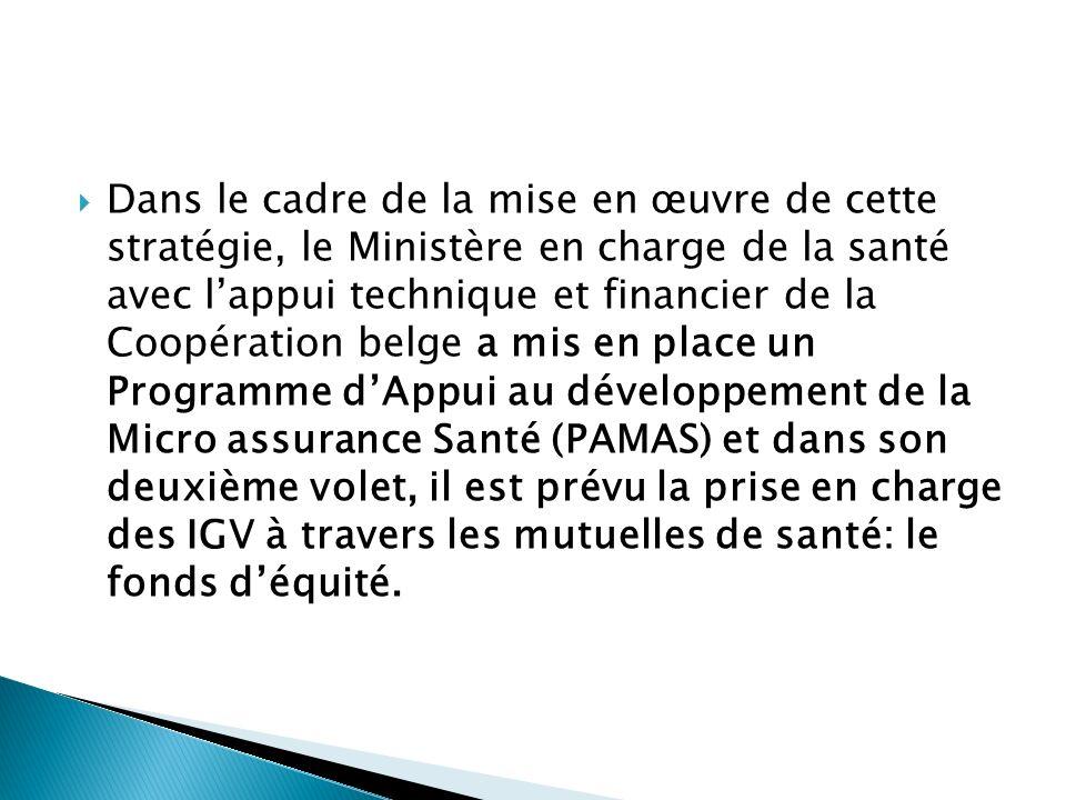 Vision: est de contribuer à la promotion de léquité dans l accès aux soins de santé au Sénégal Sa mission: est damener les IGV à être membres des mutuelles de santé et à bénéficier dun accès aux soins au même titre que tous les mutualistes