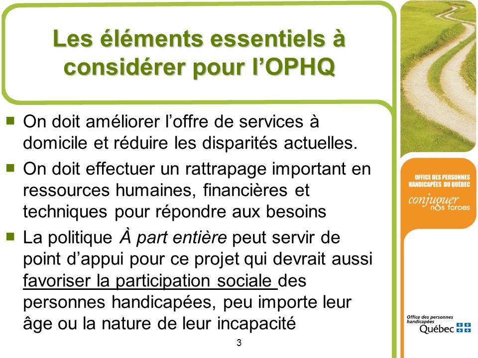 3 Les éléments essentiels à considérer pour lOPHQ On doit améliorer loffre de services à domicile et réduire les disparités actuelles. On doit effectu