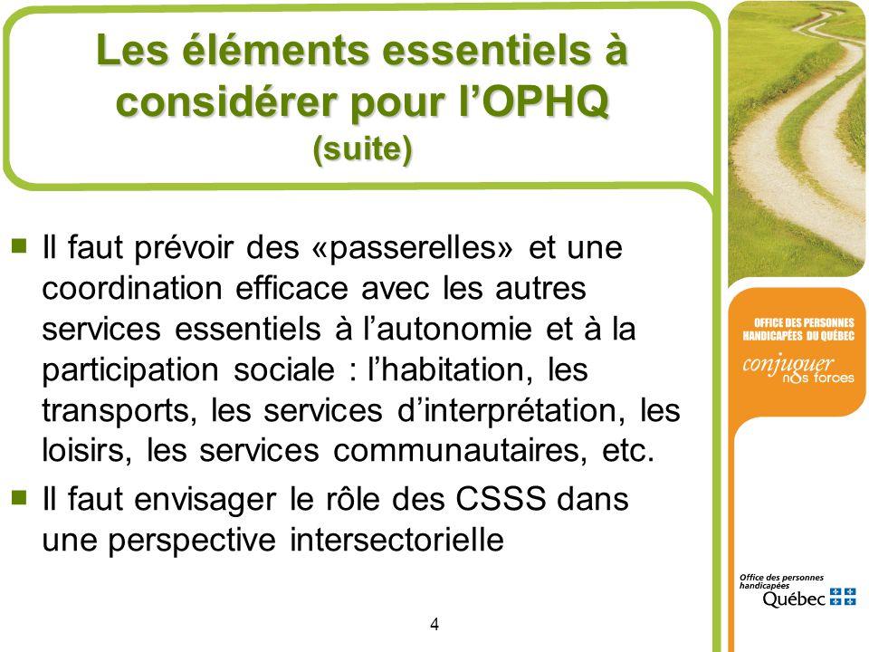 4 Les éléments essentiels à considérer pour lOPHQ (suite) Il faut prévoir des «passerelles» et une coordination efficace avec les autres services esse