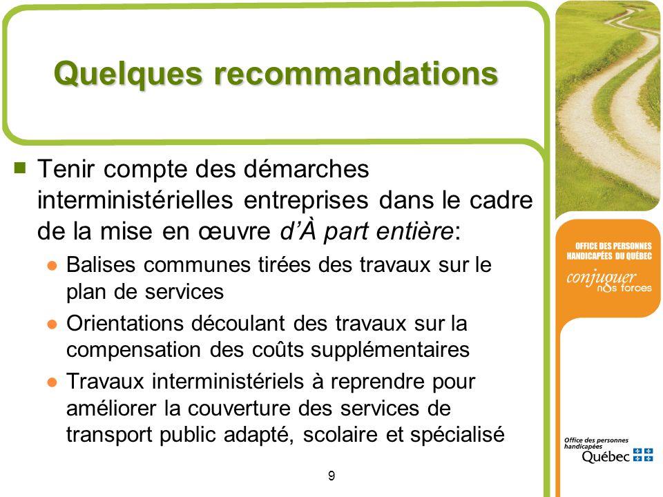 9 Quelques recommandations Tenir compte des démarches interministérielles entreprises dans le cadre de la mise en œuvre dÀ part entière: Balises commu