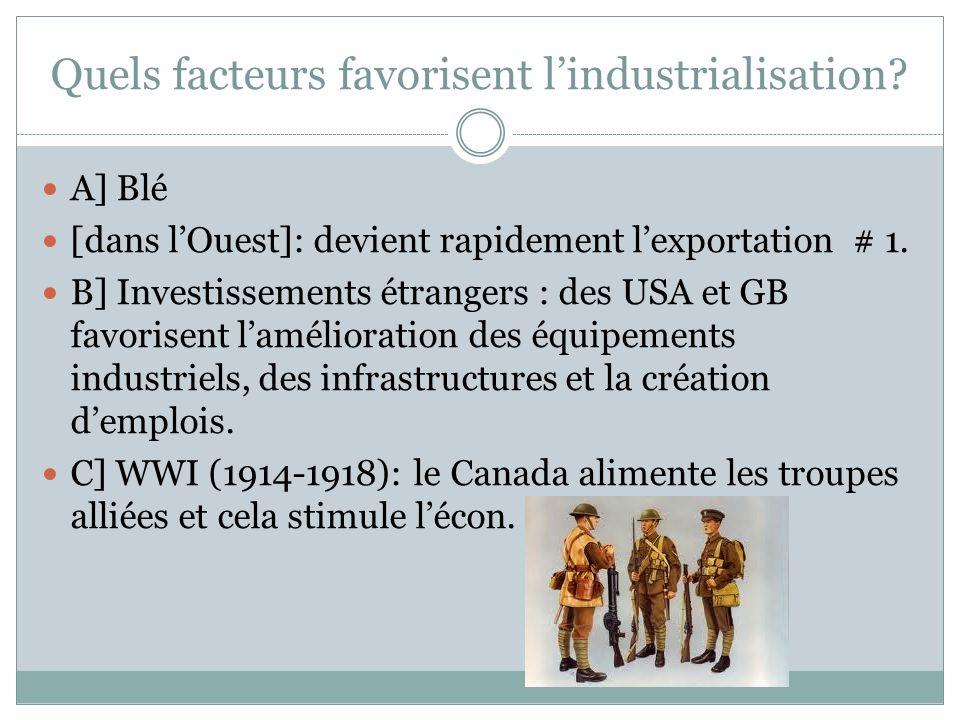 Quels facteurs favorisent lindustrialisation? A] Blé [dans lOuest]: devient rapidement lexportation # 1. B] Investissements étrangers : des USA et GB