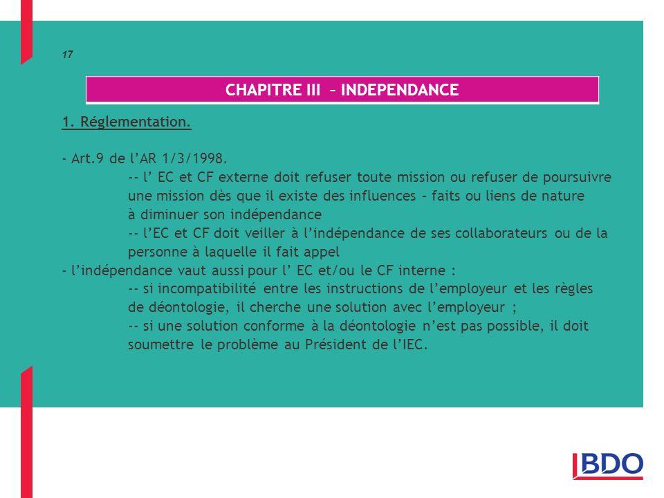 17 1.Réglementation. - Art.9 de lAR 1/3/1998.