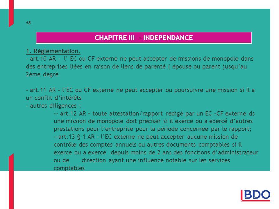 18 1.Réglementation.