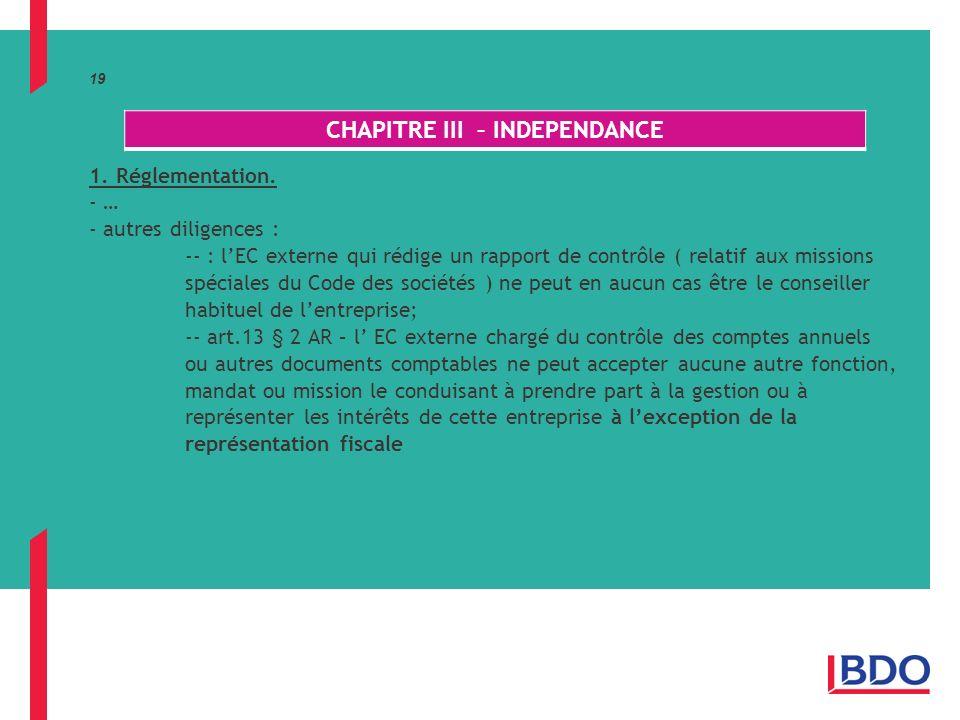19 1.Réglementation.