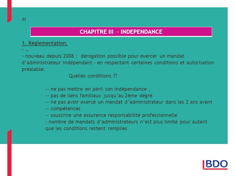 23 1.Réglementation.