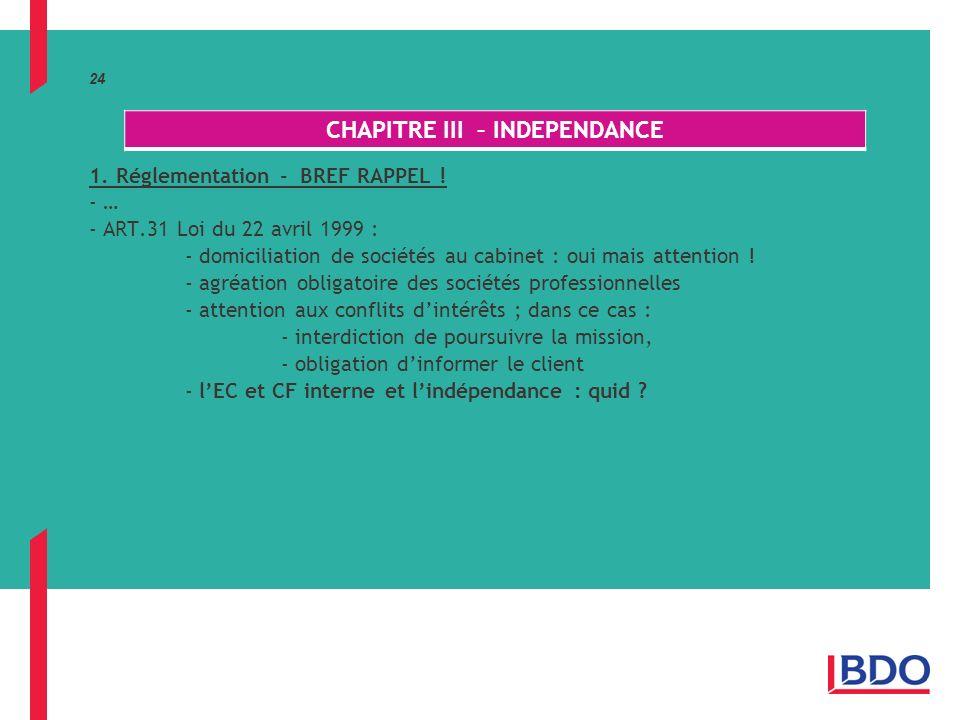 24 1.Réglementation - BREF RAPPEL .