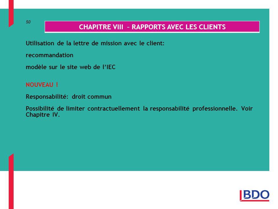 50 Utilisation de la lettre de mission avec le client: recommandation modèle sur le site web de lIEC NOUVEAU .