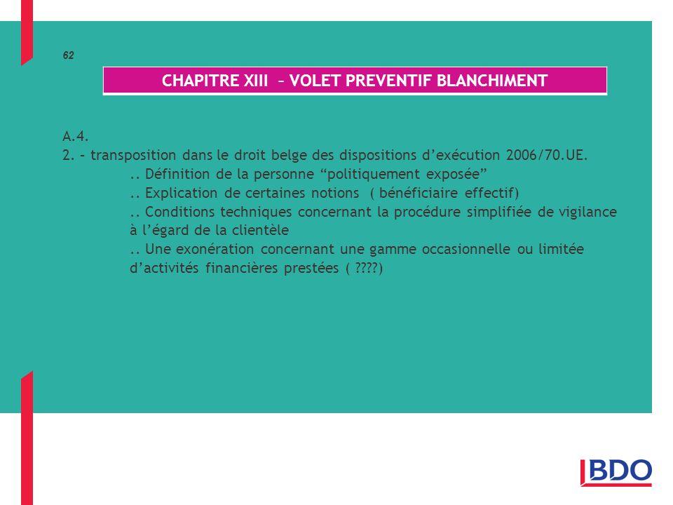 62 A.4.2. – transposition dans le droit belge des dispositions dexécution 2006/70.UE...