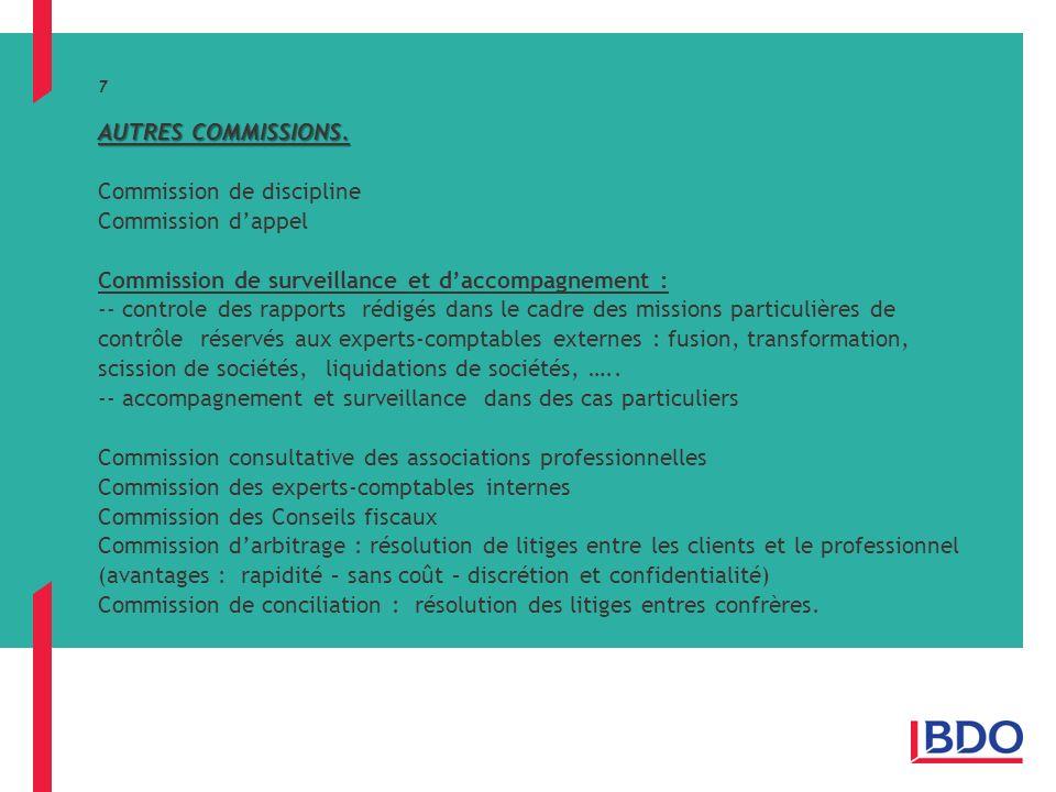 AUTRES COMMISSIONS.7 AUTRES COMMISSIONS.