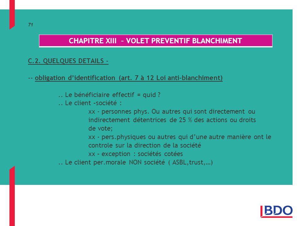 71 C.2.QUELQUES DETAILS - -- obligation didentification (art.